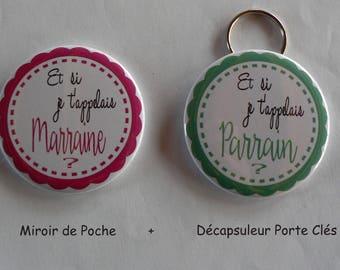 Duo Cadeau Parrain Marraine Décapsuleur Porte Clés Miroir de Poche Moustache.