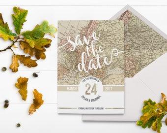 Destination Save the Date - Map - Travel - Eloping - Destination Wedding - World Map - Explore - Adventure Wedding - Vintage Invitation