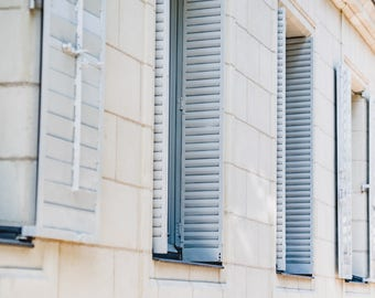 """France Travel Photography, """"Soft Blue Shutters"""", Gallery Wall Art Prints, Home Decor"""