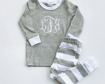 Holiday Pajamas - Kids Monogram Pajamas - Family Pajamas - Personalized Pajamas - Christmas PJs Baby - Monogrammed Pajamas - Christmas PJs