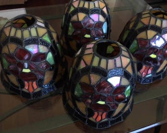 Vintage Quoizel stained glass lamp chandelier sconce light shades (4)