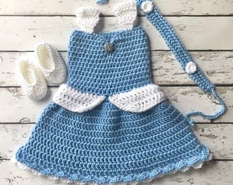 Cinderella baby outfit, crochet baby, princess, Disney, baby photo outfit, babys first photos, babys first Halloween, baby Halloween costume