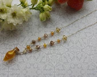 Felix Felice Necklace. Art jewelry. Lampwork. Handmade Sterling silver. Fine Gemstone jewelry. Uk artist. Gift for her.
