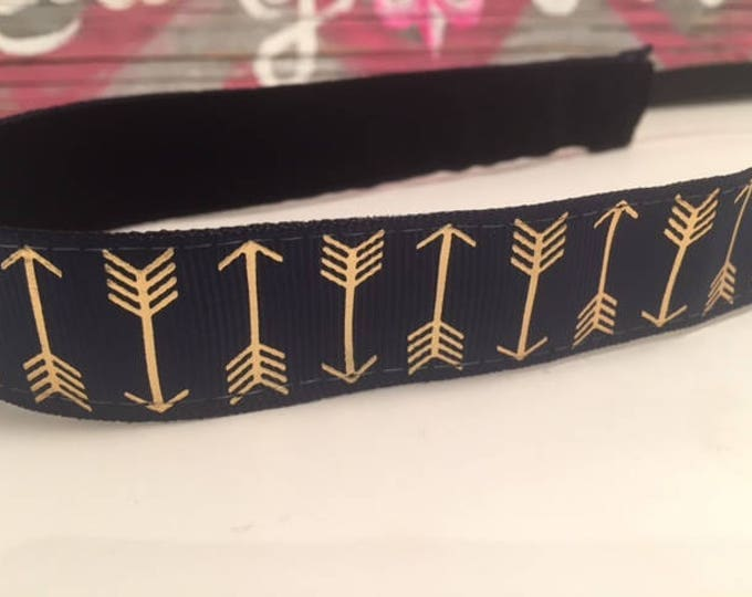 Nonslip Headband Navy with Gold Arrows