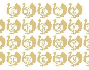 TURKEY Monogram Font Unfinished MDF Wood Cutout Variety of Sizes USA Made  Decor
