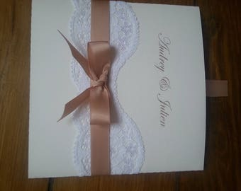 """chic """"lace"""" wedding announcements"""