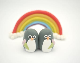 Penguin Lesbian Wedding Cake Topper (With or Without Rainbow)
