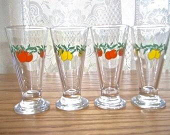 Vintage Shot Glasses~Fruit Shot Glasses Fruit Design~Cordial Glasses~Cordial Glasses Fruit Design~Retro Barware~Retro Shot Glasses~