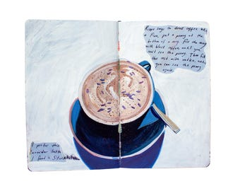 "Fine Art Print of Painting from Artist Travel Journal - ""Lavender Latte in Stockholm"""