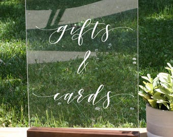 Cards and Gifts Sign, Acrylic Wedding Sign, Acrylic Sign Wedding, wedding reception signs, boho chic party decor, gift table sign