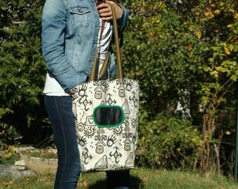 geometric batik pattern fabric tote bag