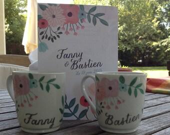 mugs are handpainted porcelain wedding gift