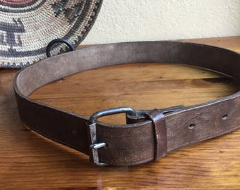 1970's Army Dark Brown Aged Leather Roller Buckle Belt