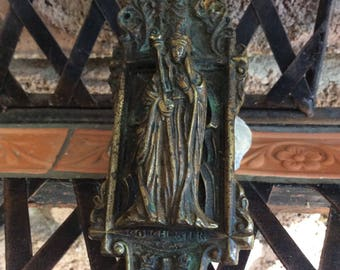 Brass Door Knocker Embossed Colchester on Front