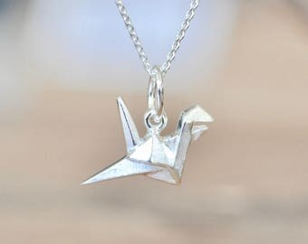 Sterling Silver Origami Crane Necklace, Silver Crane Necklace, Silver Bird Necklace, Origami Animal Jewelry, Geometric Crane Necklace