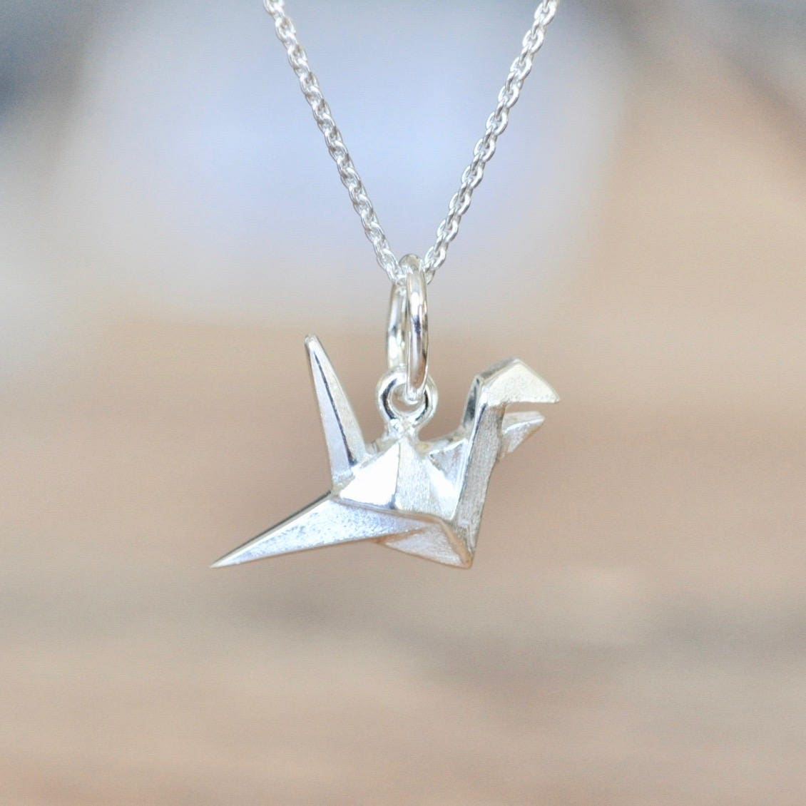 Sterling Silver Origami Crane Necklace Silver Crane Necklace - photo#30