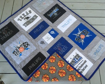 """Tshirt Quilts Custom - Throw Size 50x60"""" - Memory Quilt - Upcycled tshirts - Sports team tshirt and jersey collection - Highschool Tshirts"""