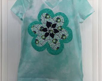 Girl's t-shirt, size 8, mint green and white, v-neck tee, short sleeve, and large flower applique, all cotton, school/everyday/play/summer