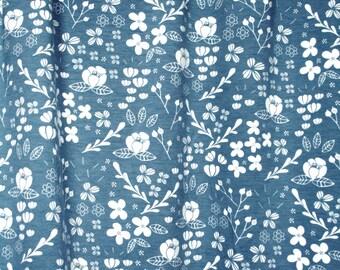 Jersey Knit Fabric, Organic Jersey Fabric, Whimsical Floral Jersey, Organic Floral Jersey, Elvelyckan Organic Jersey, Organic Jersey