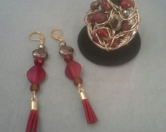 Earrings and Ring Set, Aluminum Wire Ring, Beaded Bracelet