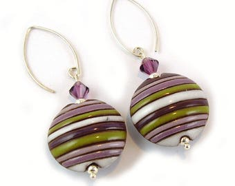 Amethyst and Olive Handmade Ceramic Stoneware Sterling Silver Earrings