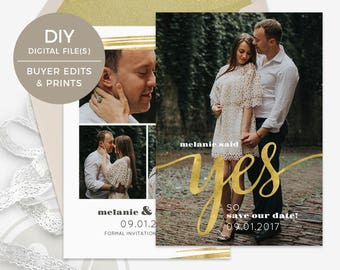 Gold Save the Date Template - Instant Download, Save the Date Card, She Said Yes, Wedding Announcement, Photoshop Template for Photographers