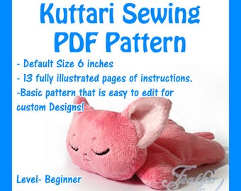 PDF Sewing Pattern- Kuttari Beanie Plush  (EMBROIDERY INCLUDED)