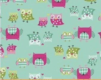 It's A Hoot-Turquoise Mother and Child Owl Fabric-Whistler Studios-Windham Fabrics-100% cotton-by the half yard