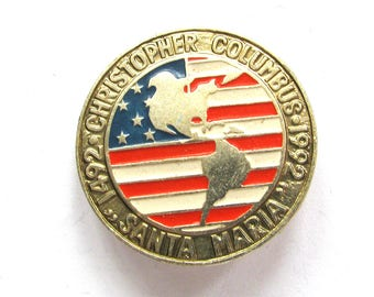 Christopher Columbus, 500 years, Santa Maria, America, 1492, Rare Soviet Vintage metal collectible pin, Made on 1992