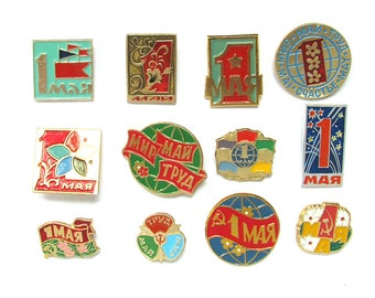 First of May, Soviet Holiday, Badge, Pick from Set, Communism, Vintage collectible button, Soviet Vintage Pin, Made in USSR, 1970s, 1980s