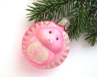Pink Hedgehog, Soviet Christmas tree decoration, Christmas glass ornament, Russian New Year,  USSR, Soviet Union, 1970s