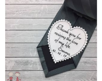 Wedding Tie Patch Father of Groom-Heart Tie Patch-Coat/Vest Patch-FIL gift-Embroidered gift