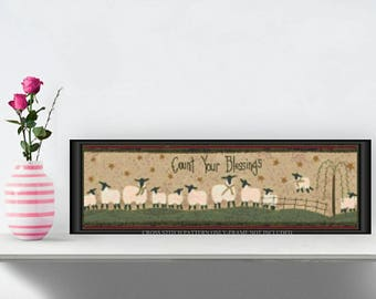 Primitive Count Your Blessings Sheep Cross Stitch Pattern 508