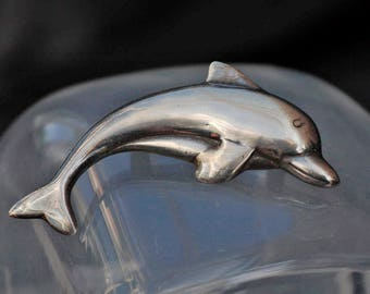 Antique Solid Silver Dolphin Fish Brooch
