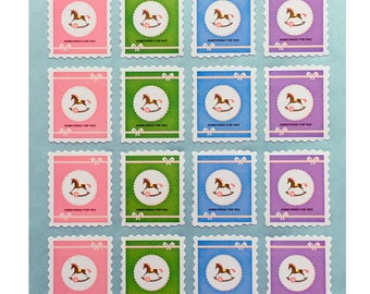 Set of 120 labels - Hand made for you - rocking horse