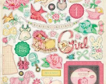 "Vintage ""Baby girl"" embellishments - Scrapbooking"