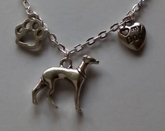 Silver metal coloured chain bracelet with metal Whippet, greyhound, lurcher type dog charm
