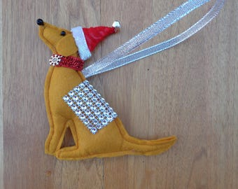Handmade ginger felt Christmas Labrador retriever type dog hanging decoration red fox lab