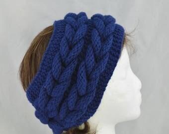 Cable Knit Headband, Womens Wide Headband, Chunky Ear Warmer, Turban, Valentines Day Gift Idea