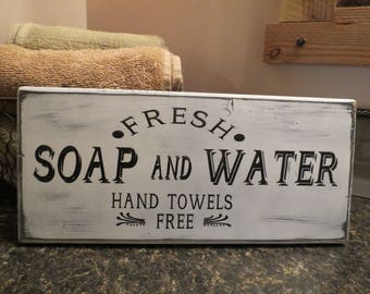 "24"" x 5 1/4"" Farmhouse Wall Decor, Fresh Soap and Water Bathroom Sign, Bathroom Decor, Home Decor, Wall Hanging, Rustic, Distressed"