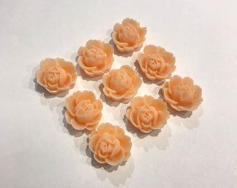 9 x Apricot Rose Resin Cabochon Charms 12mm x 12mm