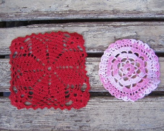 2 Small Vintage Crochet Doilies - Pink and Red - Hand Made - Craft