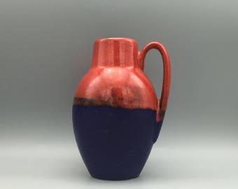 "Scheurich Keramik 414  / 16 red dark blue Mid Century Modern ,,Heinz Siery"" vase  made in the 1970s . West Germany Pottery. WGP."
