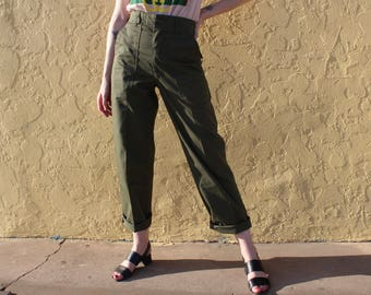 Army Green High Waist Pants Size 24 XS, High Wasted Dark Army Green Pants X-Small, Military Pants Size 24, Military Pants, Army Pants XS