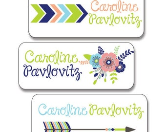 30 Waterproof Dishwasher Safe Name Labels for School, Daycare, Camp.  Tribal Theme for Girls, Mint, Navy, Peach