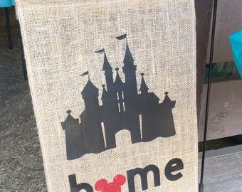 Disney Castle Home Burlap Garden Flag (Handmade)
