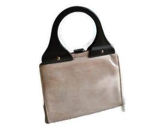 1960's Lodix Vinyl Handbag // Brown and Beige Bag