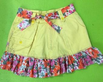 Girls 13/14 yellow pop embellished skirt ruffle retro vibe matching belt  one of a kind