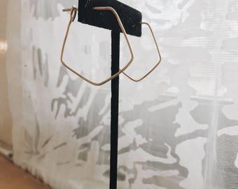Geometric Hammered Gold Wire Hoop Earrings