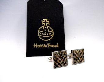 Harris Tweed cuff linksbrown / cream herringbone mens gift Scottish made in Scotland  cufflinks christmas wedding or birthday gift for him